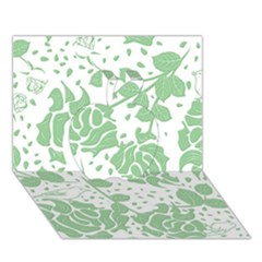 Floral Wallpaper Green Apple 3D Greeting Card (7x5)
