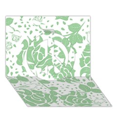 Floral Wallpaper Green Peace Sign 3D Greeting Card (7x5)