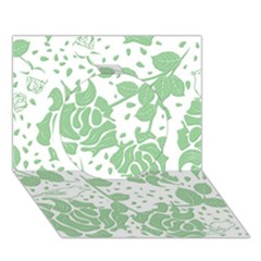 Floral Wallpaper Green Circle 3D Greeting Card (7x5)