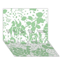 Floral Wallpaper Green HOPE 3D Greeting Card (7x5)