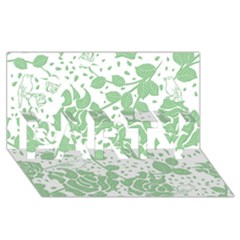 Floral Wallpaper Green PARTY 3D Greeting Card (8x4)