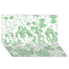 Floral Wallpaper Green SORRY 3D Greeting Card (8x4)