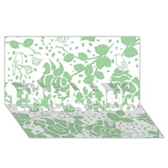 Floral Wallpaper Green ENGAGED 3D Greeting Card (8x4)