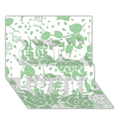 Floral Wallpaper Green Get Well 3D Greeting Card (7x5)