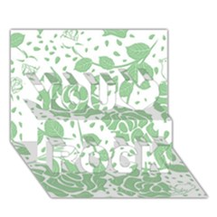 Floral Wallpaper Green You Rock 3d Greeting Card (7x5)
