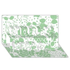 Floral Wallpaper Green Merry Xmas 3D Greeting Card (8x4)