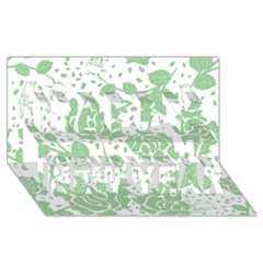 Floral Wallpaper Green Happy New Year 3D Greeting Card (8x4)