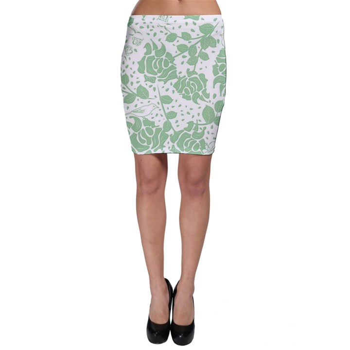 Floral Wallpaper Green Bodycon Skirts