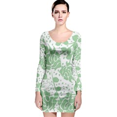 Floral Wallpaper Green Long Sleeve Bodycon Dresses