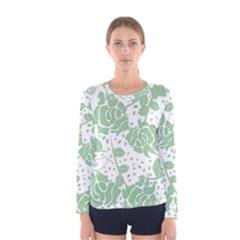 Floral Wallpaper Green Women s Long Sleeve T-shirts