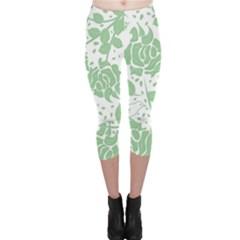 Floral Wallpaper Green Capri Leggings