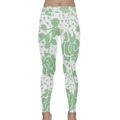 Floral Wallpaper Green Yoga Leggings