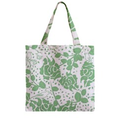 Floral Wallpaper Green Zipper Grocery Tote Bags