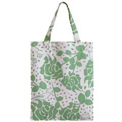 Floral Wallpaper Green Zipper Classic Tote Bags