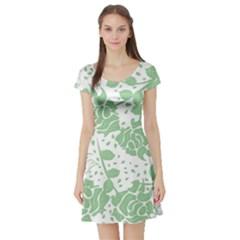 Floral Wallpaper Green Short Sleeve Skater Dresses