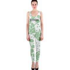 Floral Wallpaper Green OnePiece Catsuits