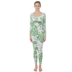 Floral Wallpaper Green Long Sleeve Catsuit