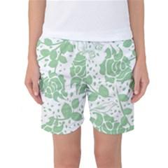Floral Wallpaper Green Women s Basketball Shorts