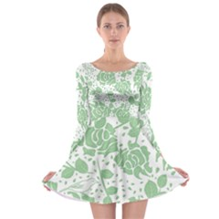 Floral Wallpaper Green Long Sleeve Skater Dress