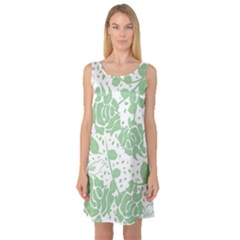 Floral Wallpaper Green Sleeveless Satin Nightdresses