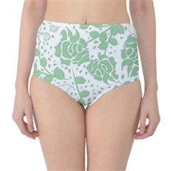 Floral Wallpaper Green High-Waist Bikini Bottoms