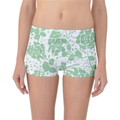 Floral Wallpaper Green Reversible Boyleg Bikini Bottoms