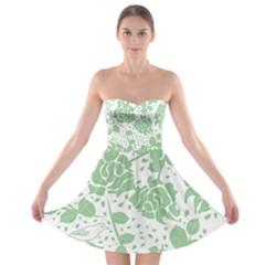 Floral Wallpaper Green Strapless Bra Top Dress