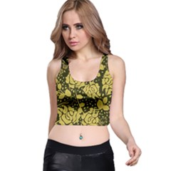 Floral Wallpaper Forest Racer Back Crop Tops
