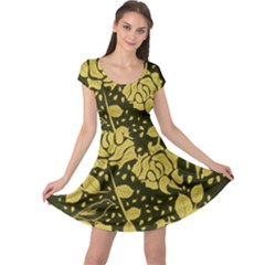 Floral Wallpaper Forest Cap Sleeve Dresses