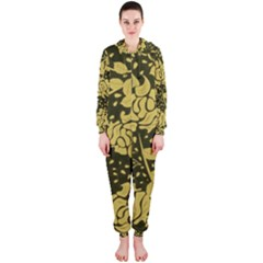 Floral Wallpaper Forest Hooded Jumpsuit (Ladies)