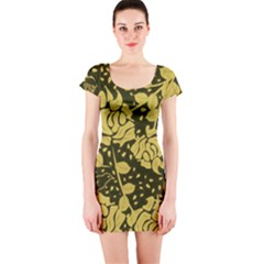 Floral Wallpaper Forest Short Sleeve Bodycon Dresses