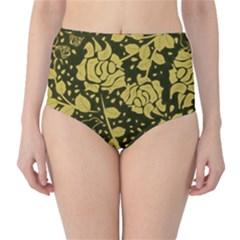 Floral Wallpaper Forest High-Waist Bikini Bottoms