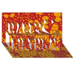 Floral Wallpaper Hot Red Happy Birthday 3D Greeting Card (8x4)