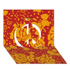 Floral Wallpaper Hot Red Peace Sign 3d Greeting Card (7x5)