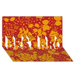 Floral Wallpaper Hot Red Best Bro 3d Greeting Card (8x4)