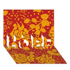 Floral Wallpaper Hot Red HOPE 3D Greeting Card (7x5)