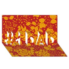 Floral Wallpaper Hot Red #1 DAD 3D Greeting Card (8x4)