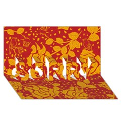 Floral Wallpaper Hot Red SORRY 3D Greeting Card (8x4)