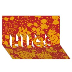 Floral Wallpaper Hot Red HUGS 3D Greeting Card (8x4)