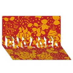 Floral Wallpaper Hot Red ENGAGED 3D Greeting Card (8x4)