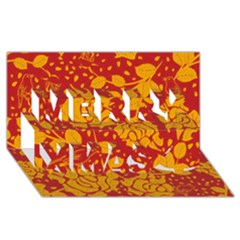 Floral Wallpaper Hot Red Merry Xmas 3d Greeting Card (8x4)