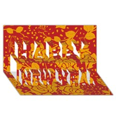 Floral Wallpaper Hot Red Happy New Year 3d Greeting Card (8x4)