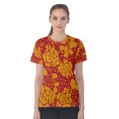 Floral Wallpaper Hot Red Women s Cotton Tees