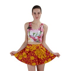 Floral Wallpaper Hot Red Mini Skirts