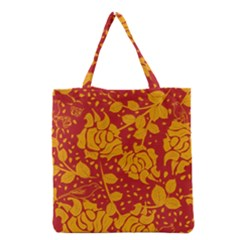 Floral Wallpaper Hot Red Grocery Tote Bags