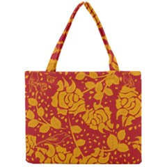 Floral Wallpaper Hot Red Tiny Tote Bags