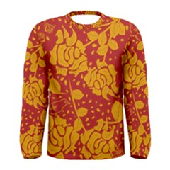Floral Wallpaper Hot Red Men s Long Sleeve T-shirts