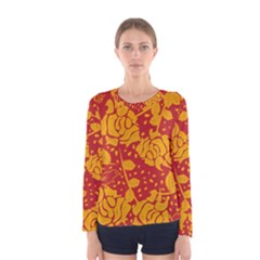 Floral Wallpaper Hot Red Women s Long Sleeve T-shirts