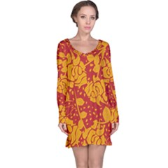 Floral Wallpaper Hot Red Long Sleeve Nightdresses