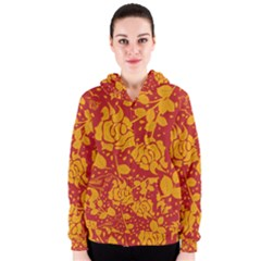 Floral Wallpaper Hot Red Women s Zipper Hoodies
